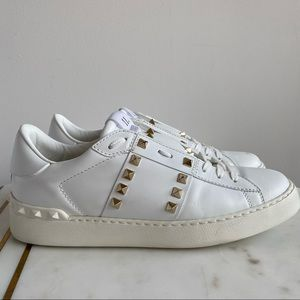 Valentino White Rockstud Untitled Open Sneakers